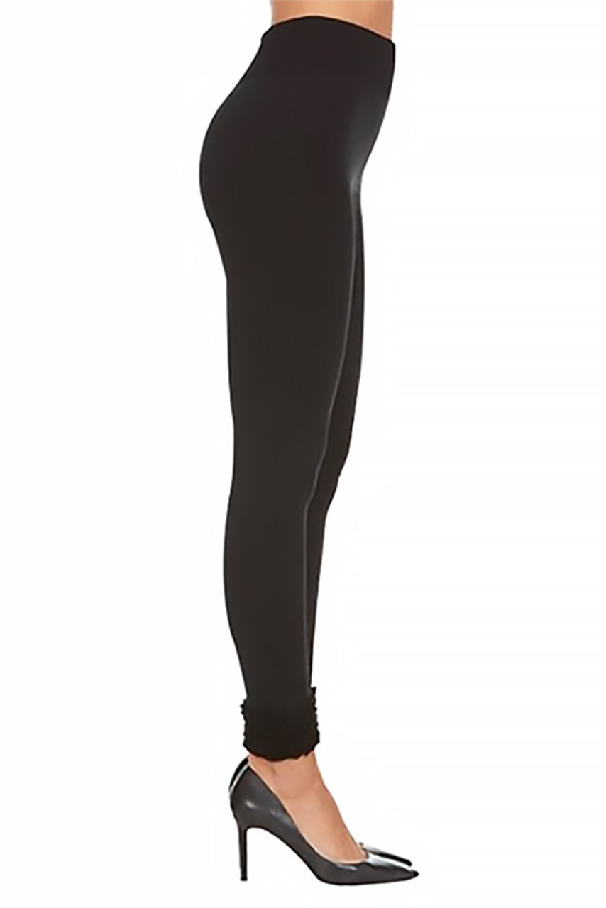 Right side view of these warm and sleek Women's Fleece Lined Black Cuff Leggings featuring a skinny leg full length cut.