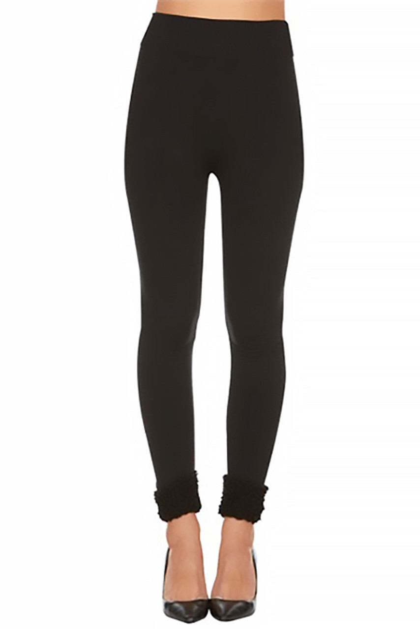 Front view image of Women's Fleece Lined Black Cuff Leggings with a high waist.