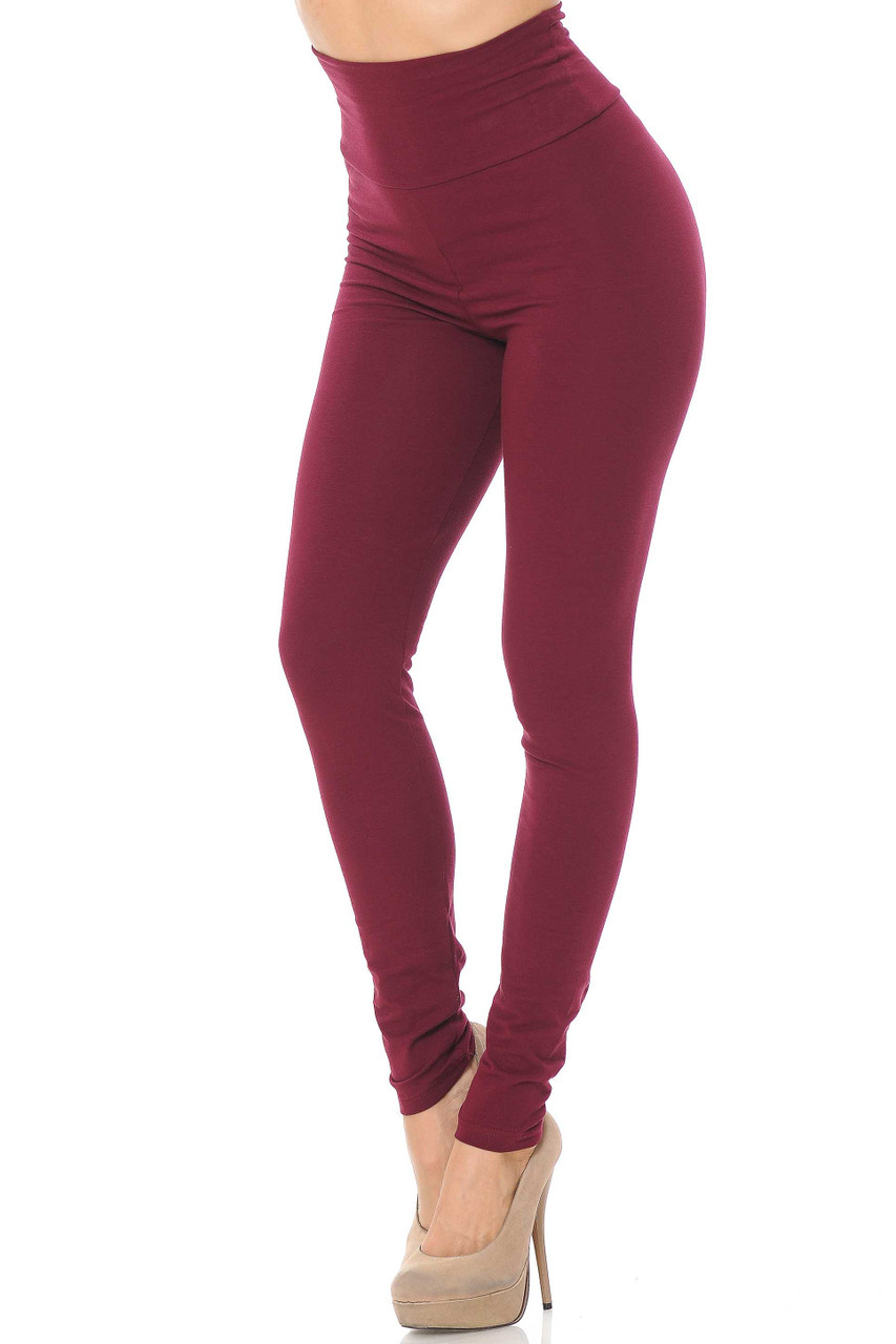 Front image of burgundy USA High Waisted Cotton Leggings