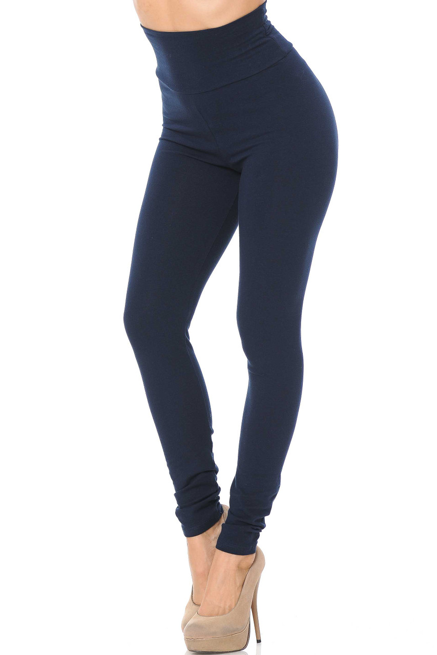 Front image of Navy USA High Waisted Cotton Leggings