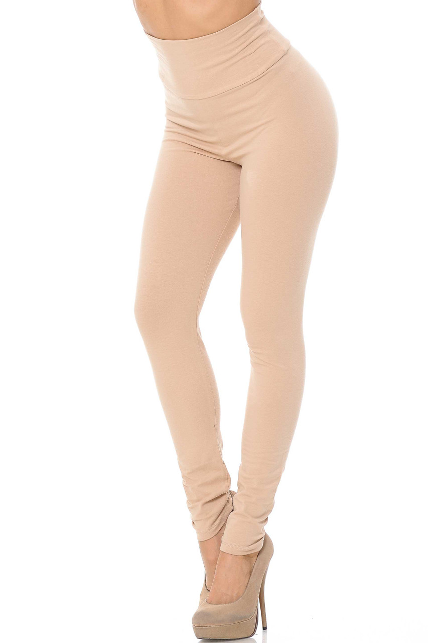 Front image of beige USA High Waisted Cotton Leggings