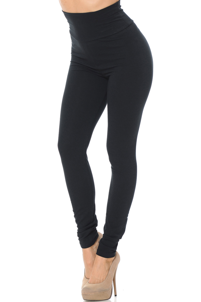 Front image of black USA High Waisted Cotton Leggings