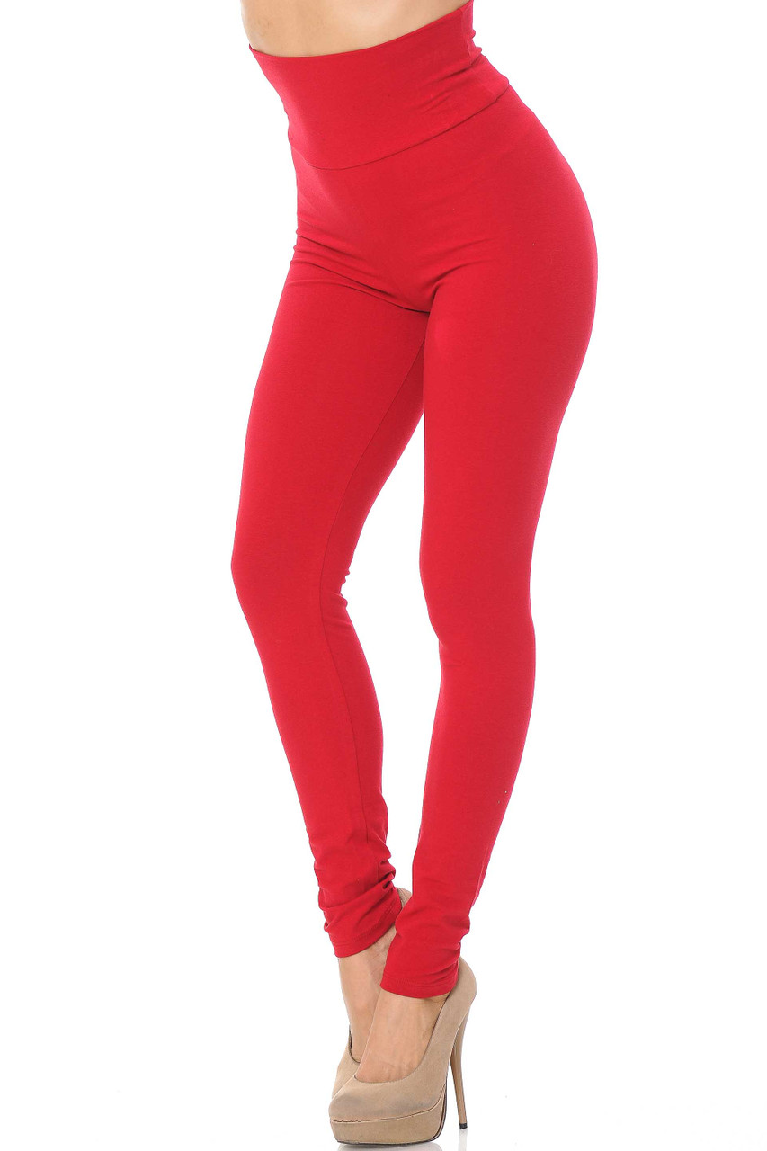 Front image of Red USA High Waisted Cotton Leggings