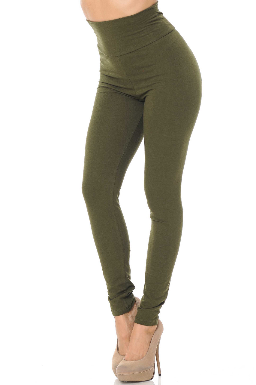 Front image of Olive USA High Waisted Cotton Leggings