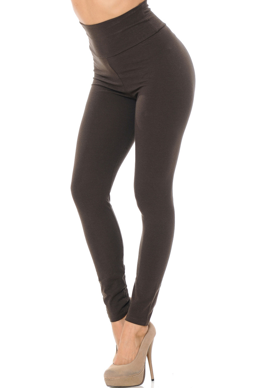 Front image of Brown USA High Waisted Cotton Leggings