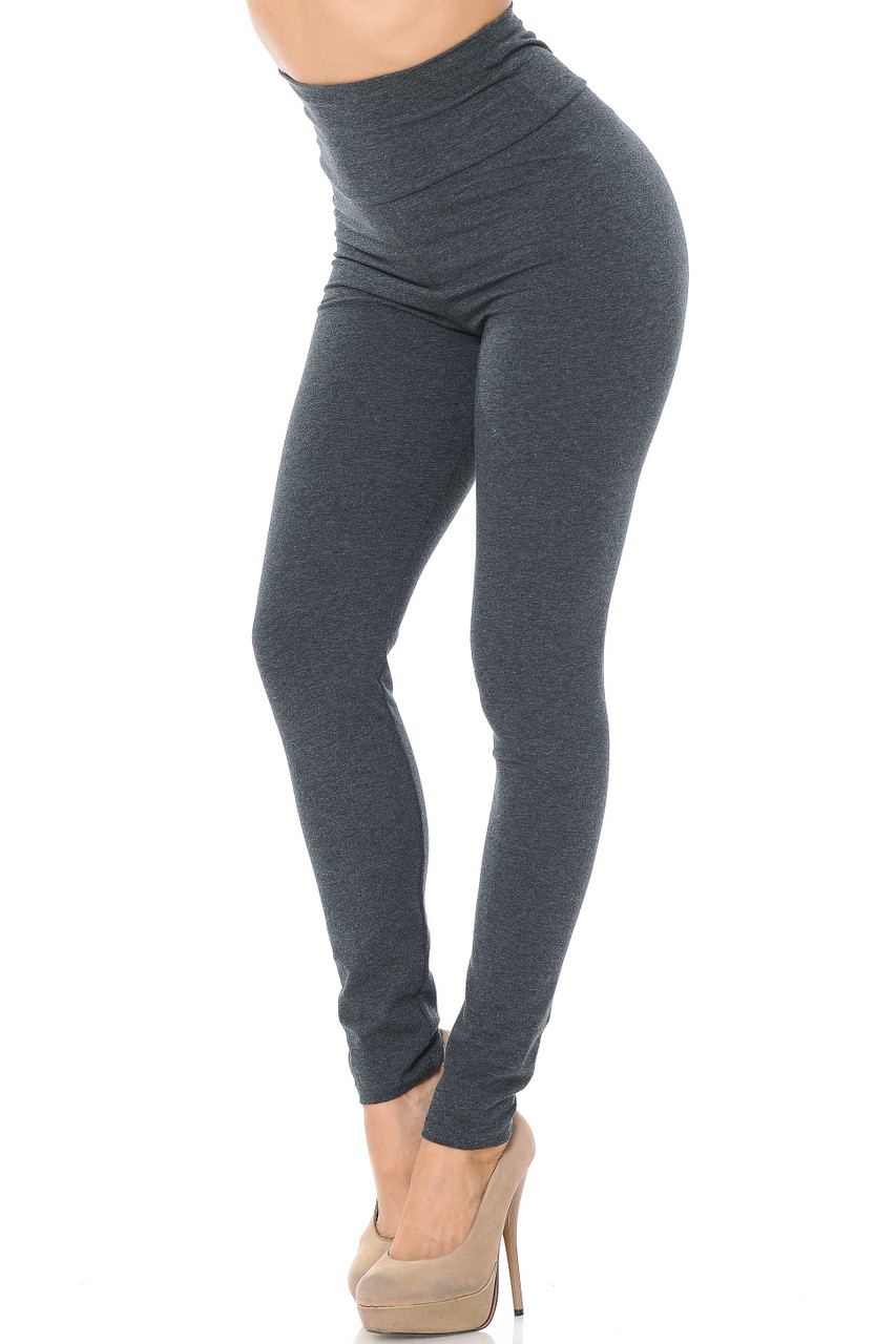 Front image of Charcoal USA High Waisted Cotton Leggings