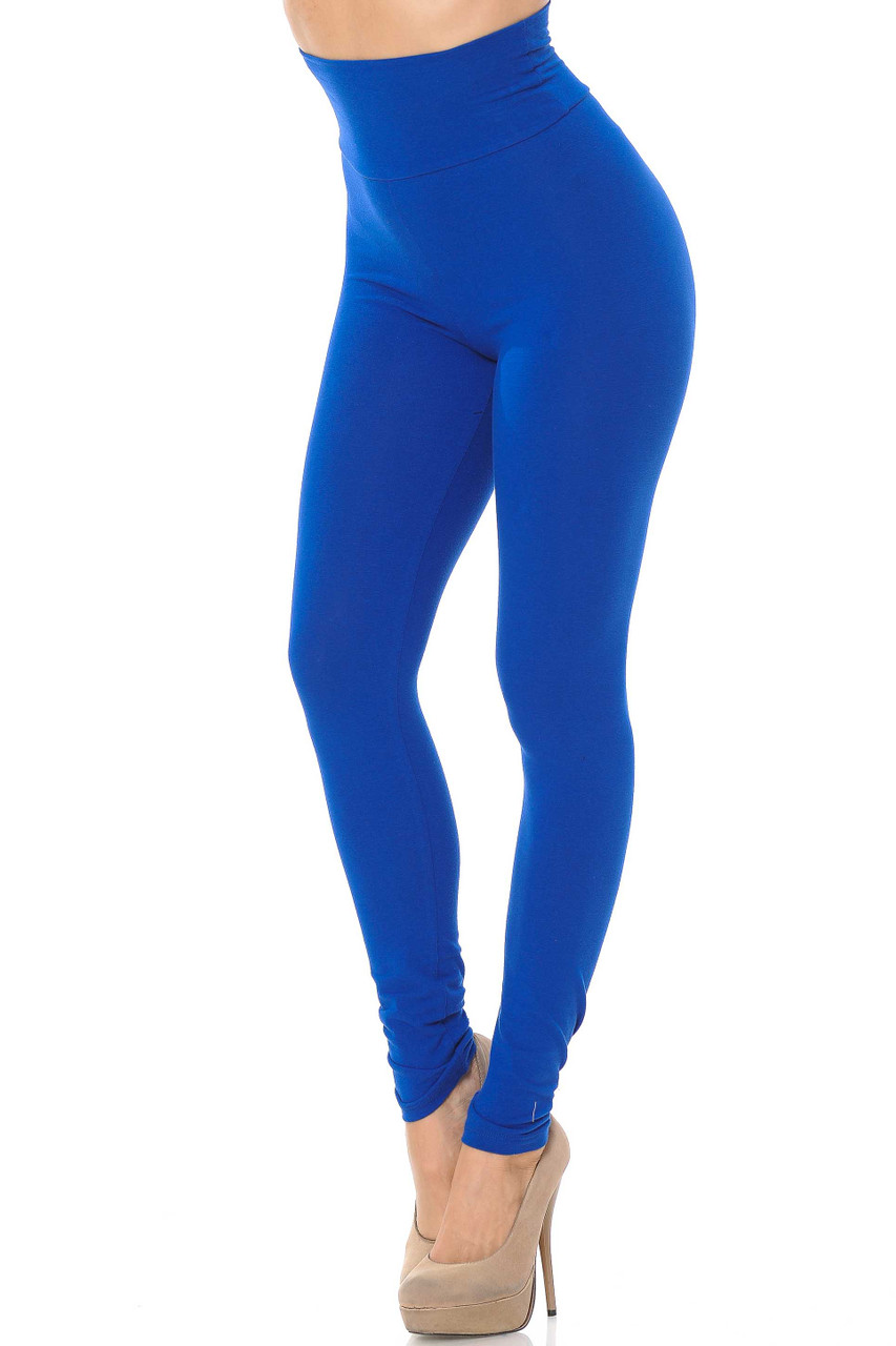 Front image of blue USA High Waisted Cotton Leggings