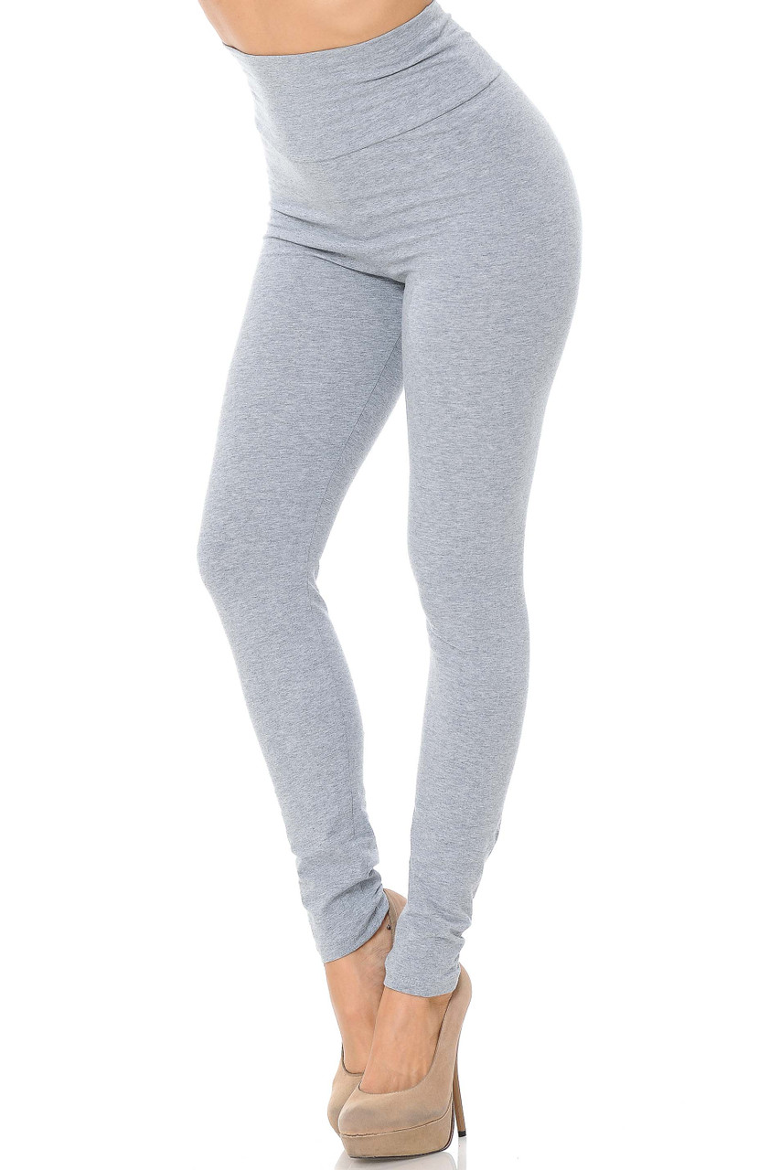 Front image of heather gray USA High Waisted Cotton Leggings