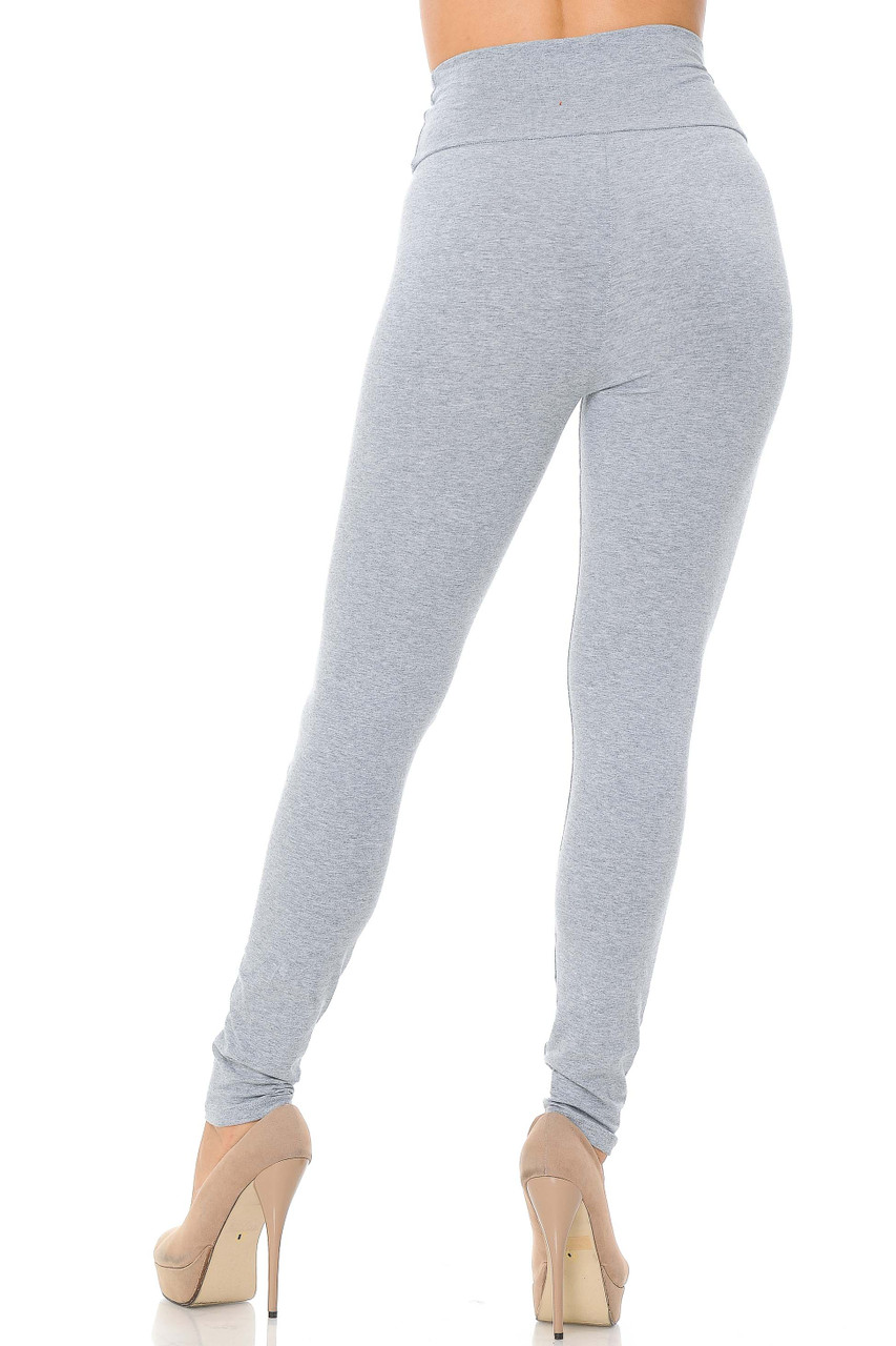 Rear image of heather gray USA High Waisted Cotton Leggings