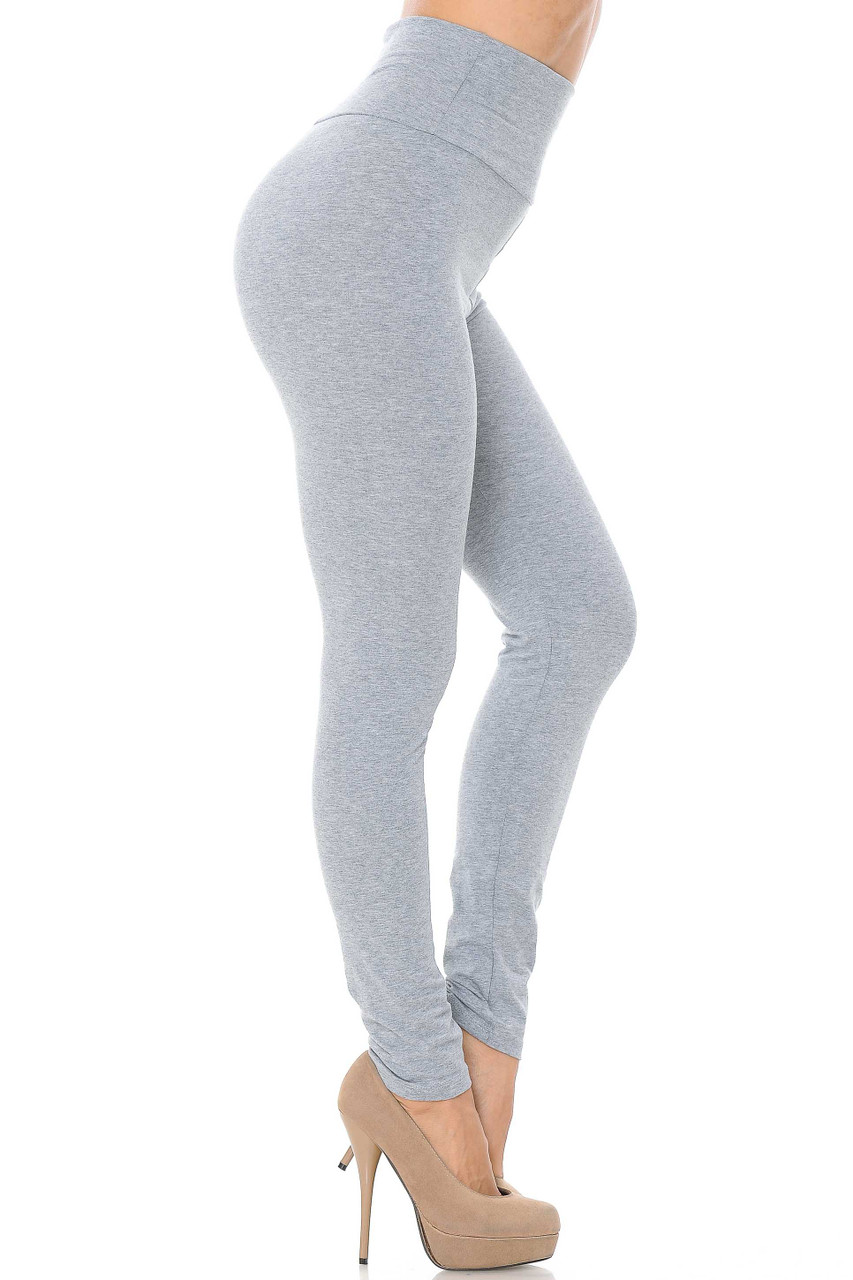 Side image of heather gray USA High Waisted Cotton Leggings