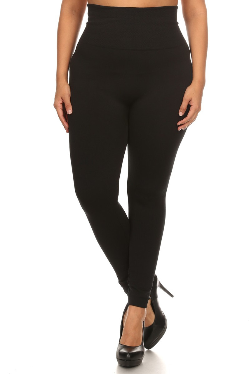 Front view of black Front side image of High Waisted Cotton Plus Size Leggings