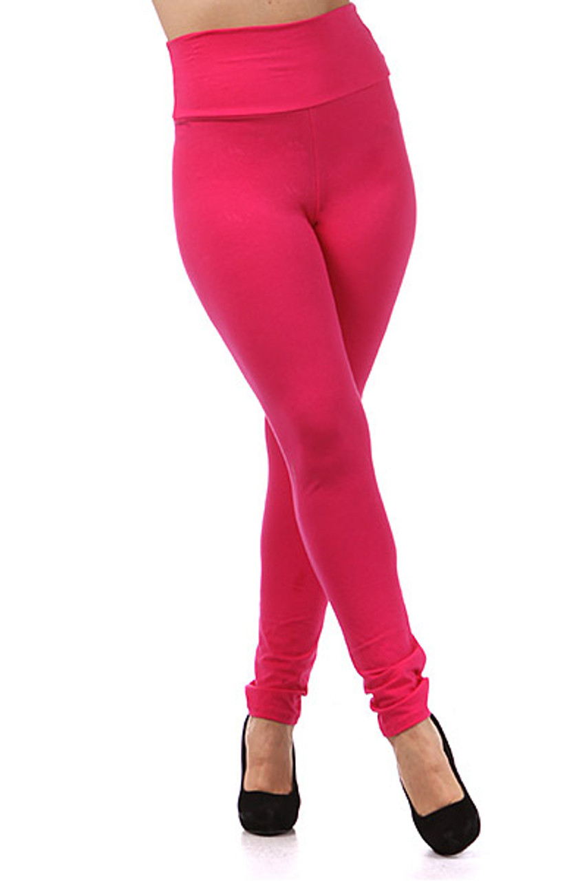 Front view of fuchsia Front side image of High Waisted Cotton Plus Size Leggings