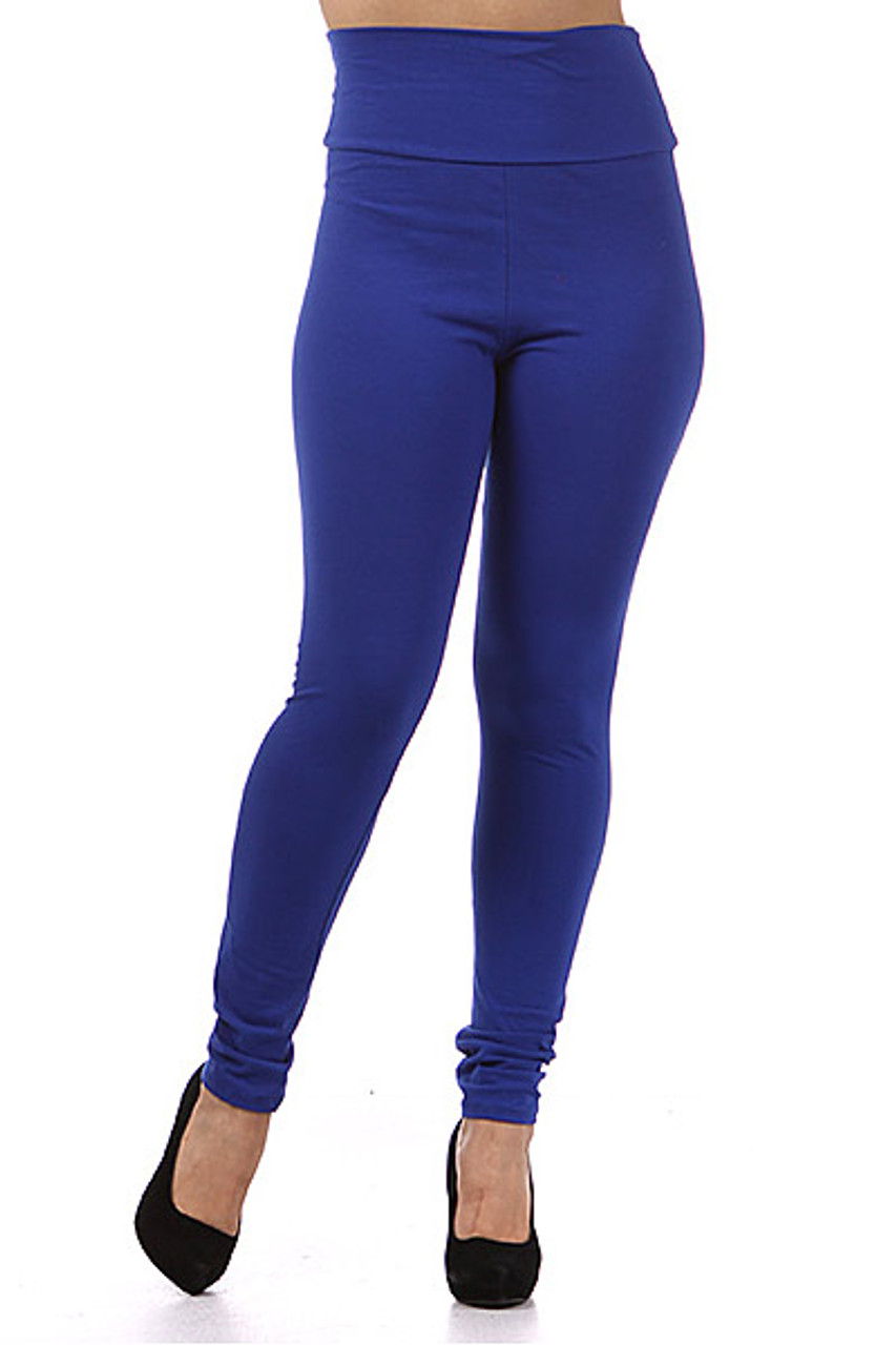 Front view of blue Front side image of High Waisted Cotton Plus Size Leggings