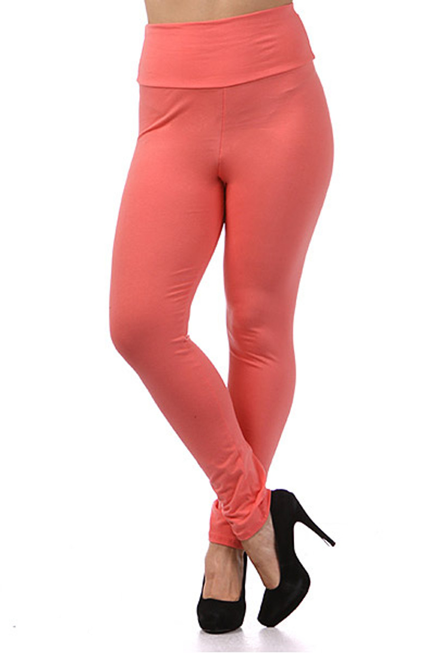 Front view of coral Front side image of High Waisted Cotton Plus Size Leggings