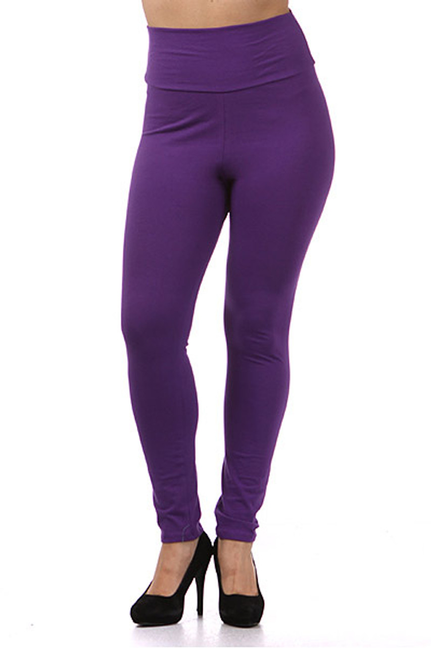 Front view of purple High Waisted Cotton Plus Size Leggings