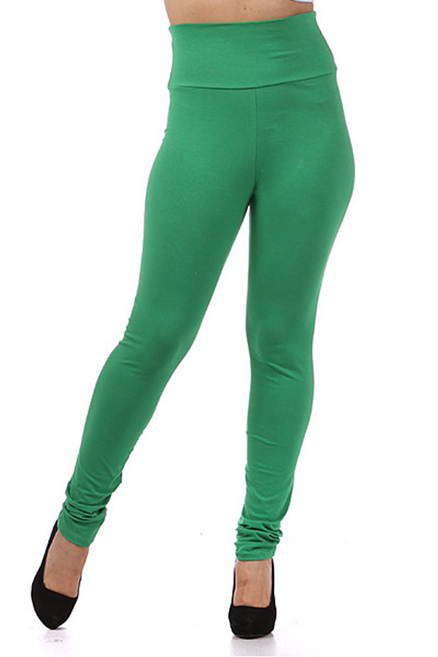 Front mage of green High Waisted Cotton Plus Size Leggings
