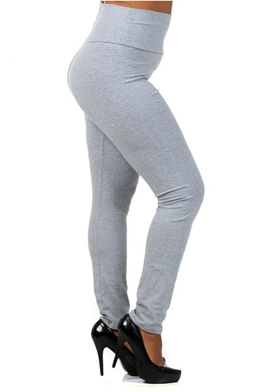 Right Side Image of heather gray High Waisted Cotton Plus Size Leggings