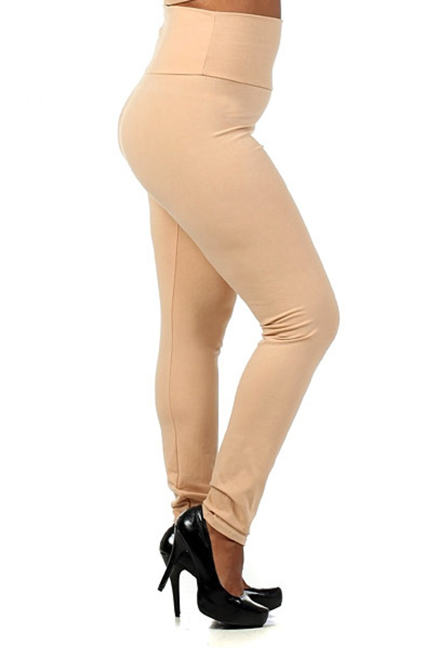 Left Side Image of beige High Waisted Cotton Plus Size Leggings