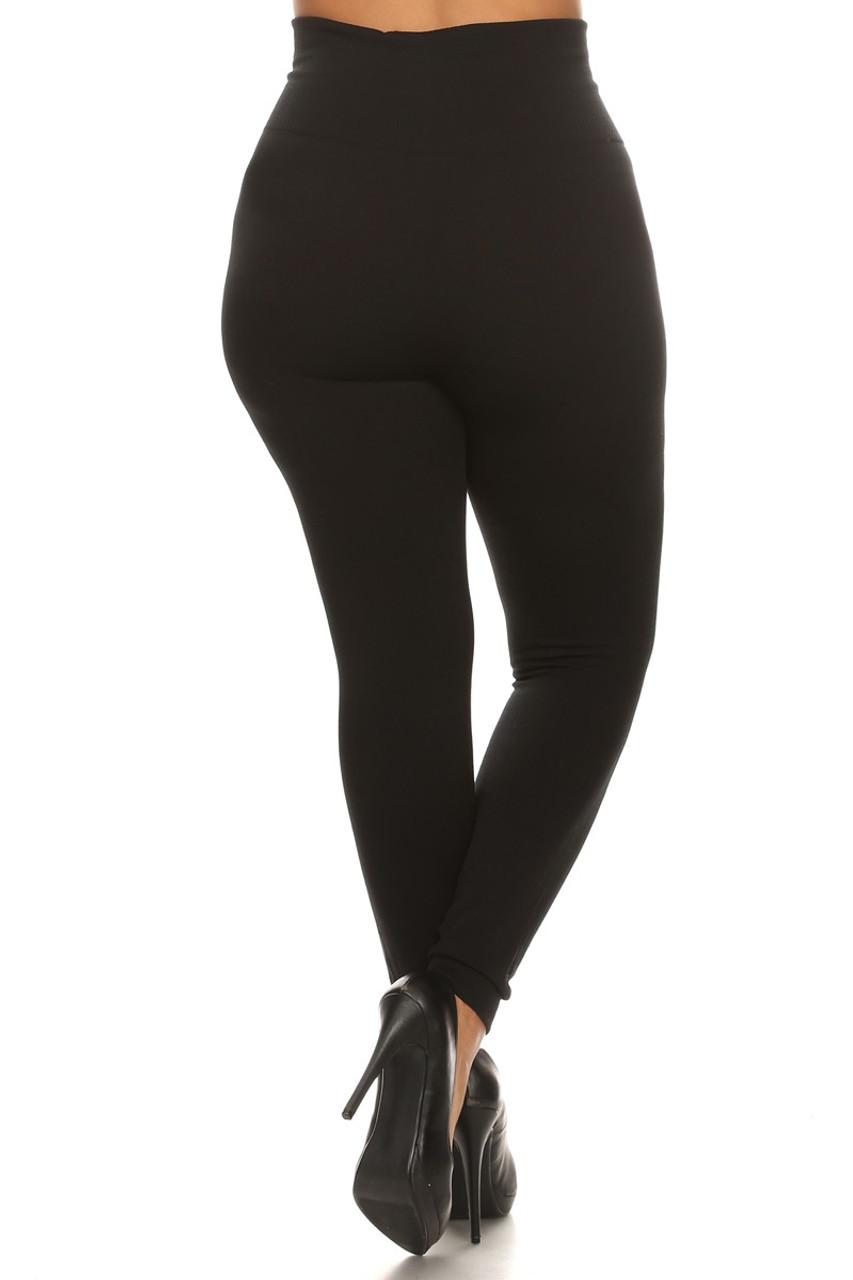 Back side image of black High Waisted Cotton Plus Size Leggings