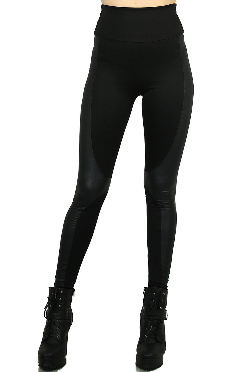 Front view of our edgy all black Gotham Faux Leather High Waisted Leggings featuring a mix of fabric and faux leather panels.