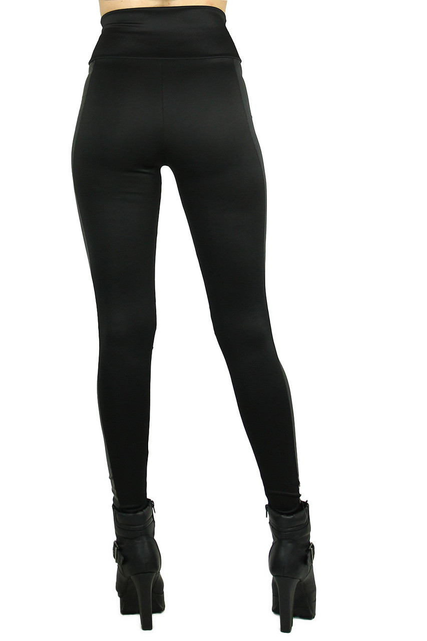 Rear view image of Gotham Faux Leather High Waisted Leggings with a sexy body flattering fitted look.