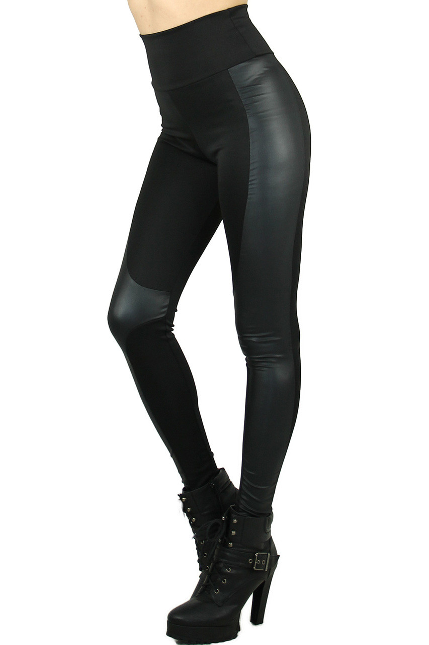 Left side view image of Gotham Faux Leather High Waisted Leggings featuring a fabulously sassy look for casual and dressy outfits.