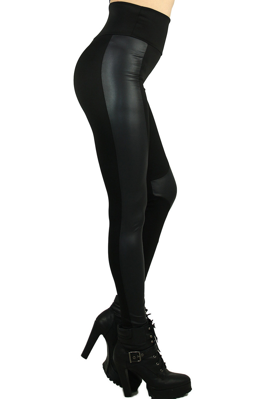 Our Gotham Faux Leather High Waisted Leggings have a comfort fabric waist and are full length with a skinny leg cut