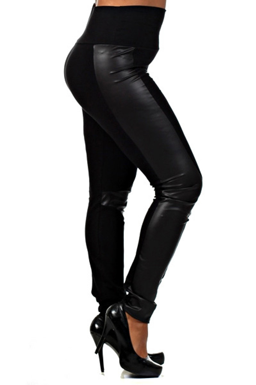 Our Gotham Faux Leather High Waisted Plus Size Leggings have a comfort fabric waist and are full length with a skinny leg cut