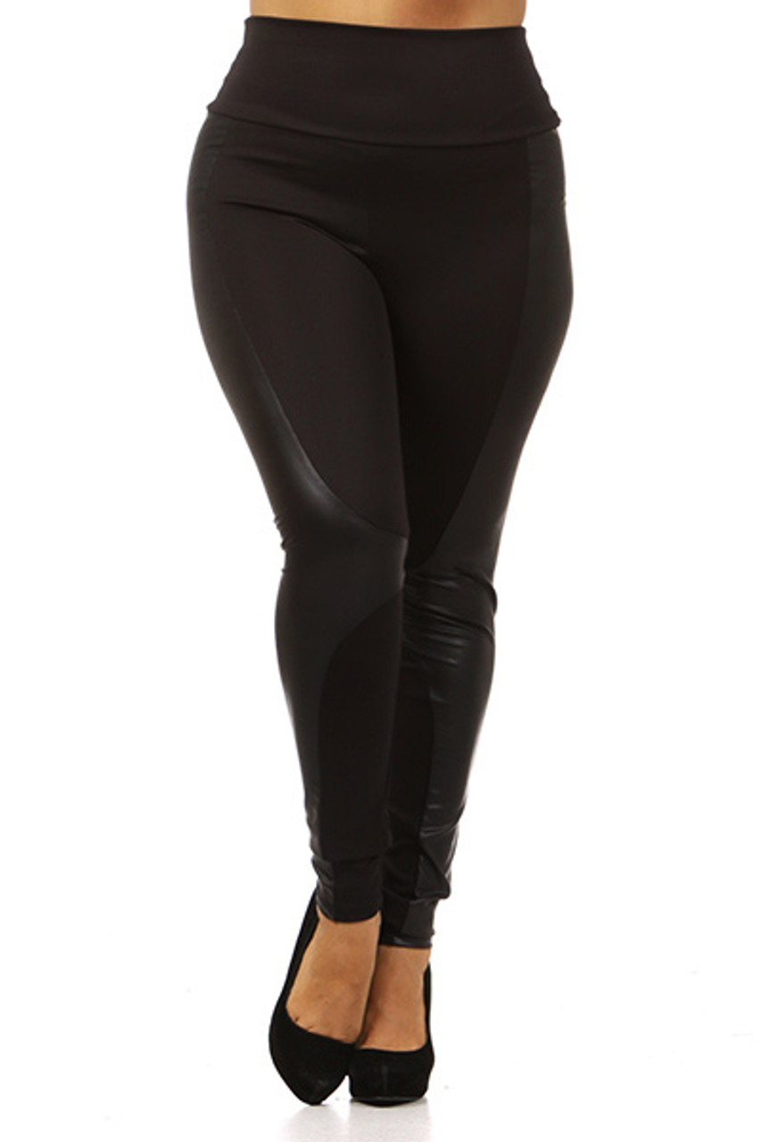 Front view of our edgy all black Gotham Faux Leather High Waisted Plus Size Leggings featuring a mix of fabric and faux leather panels.