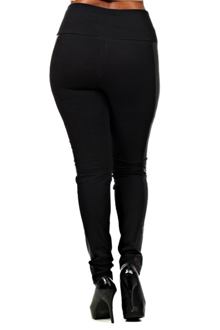 Back view of Gotham Faux Leather High Waisted Plus Size Leggings that pair with a top of any color or style for any season.