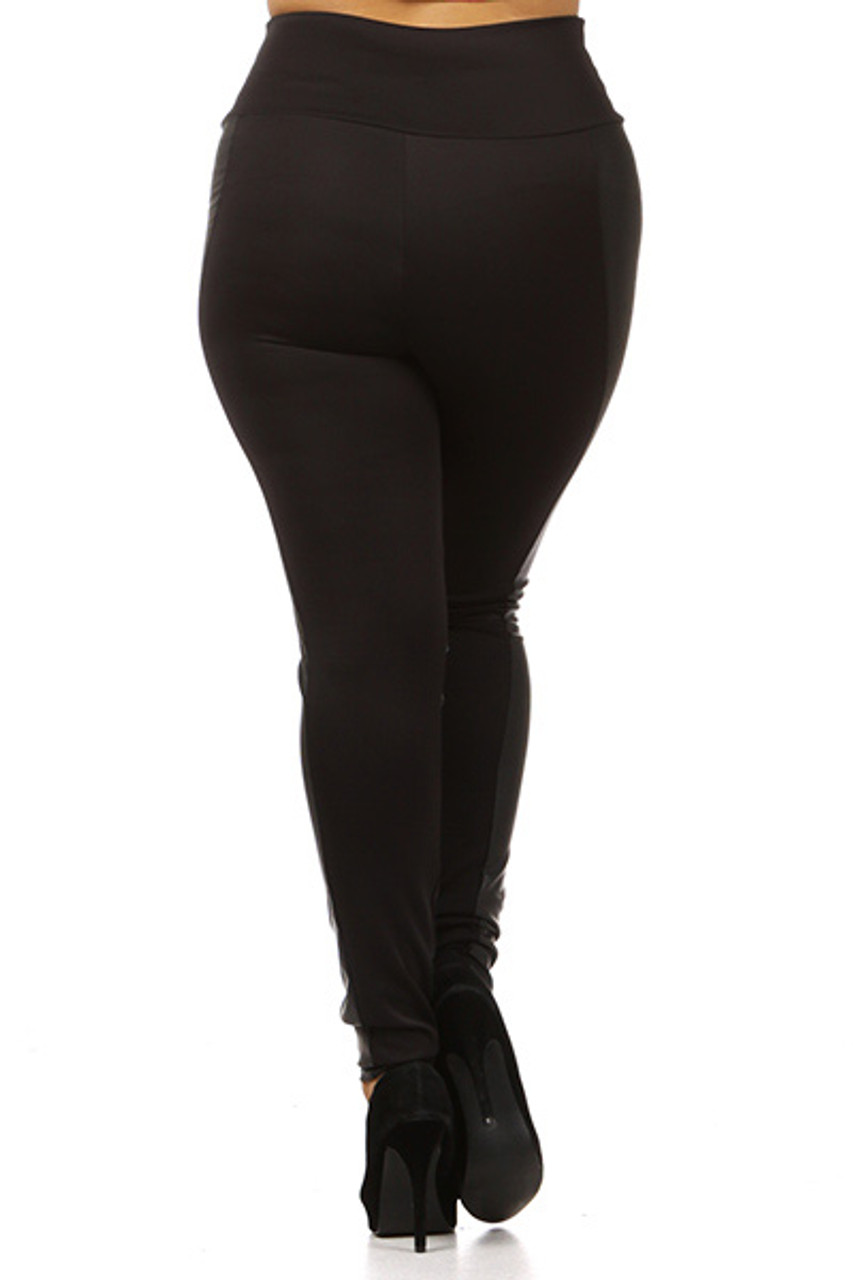 Rear view image of Gotham Faux Leather High Waisted Plus Size Leggings with a sexy body flattering fitted look.