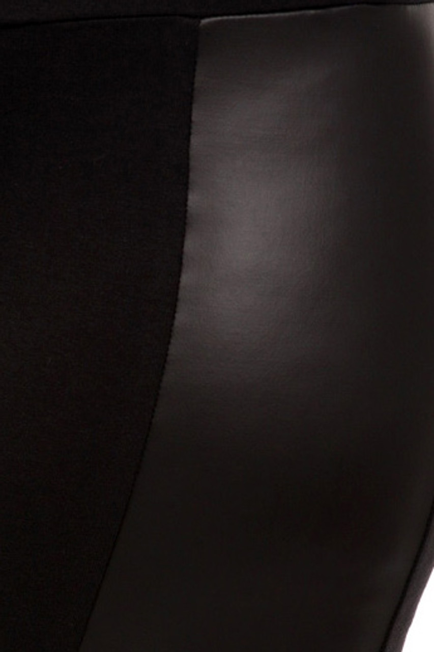 Close up swatch of Gotham Faux Leather High Waisted Leggings - Plus Size