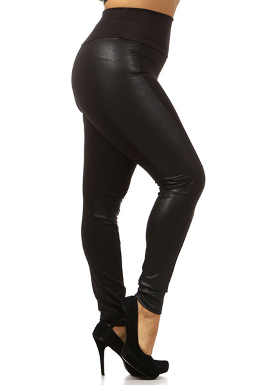 Right side view image of Gotham Faux Leather High Waisted Plus Size Leggings featuring a fabulously sassy look for casual and dressy outfits.