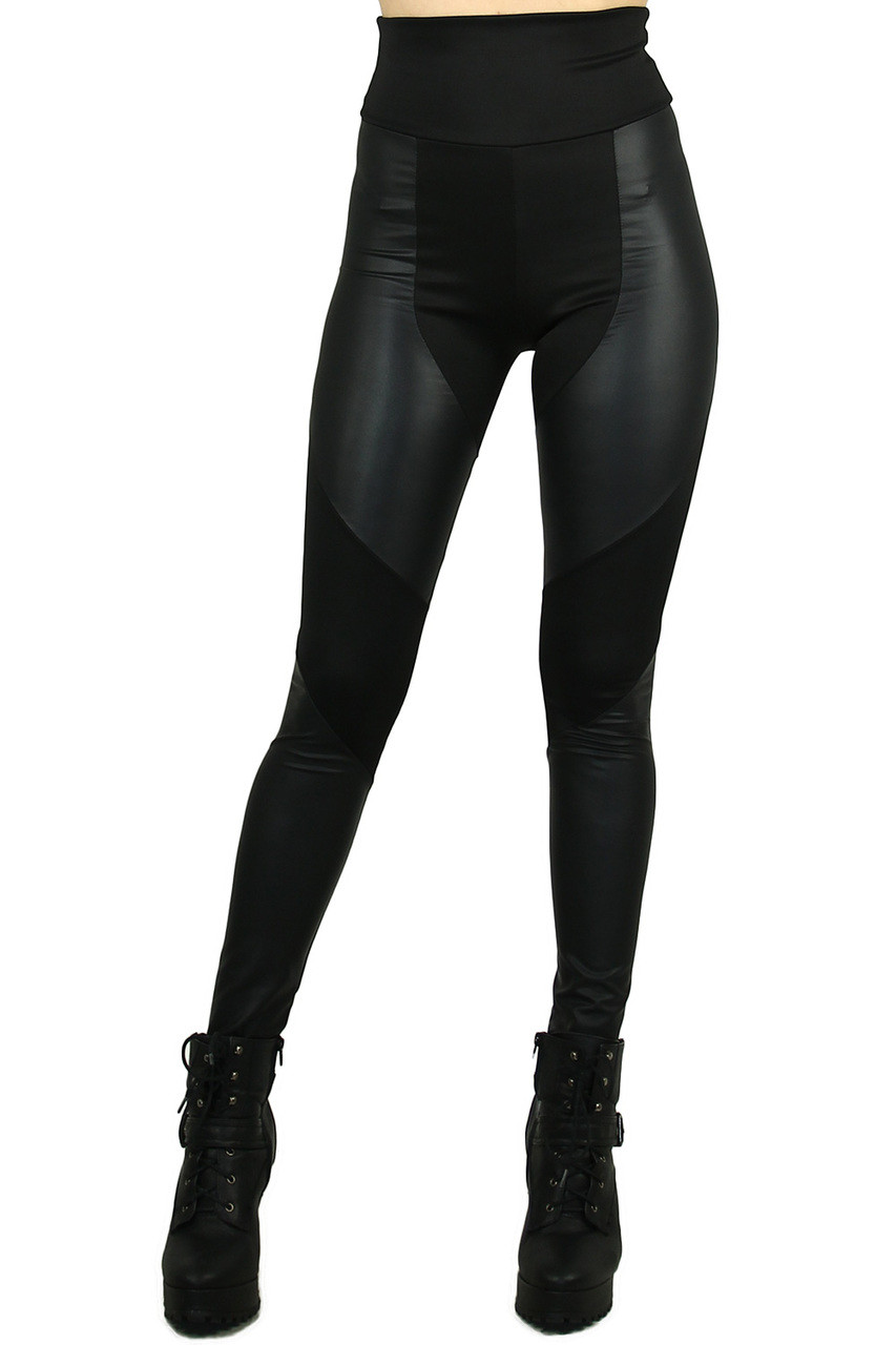 Front view image of Chatelaine Faux Leather High Waisted Leggings featuring a fabulously sassy look for casual and dressy outfits.