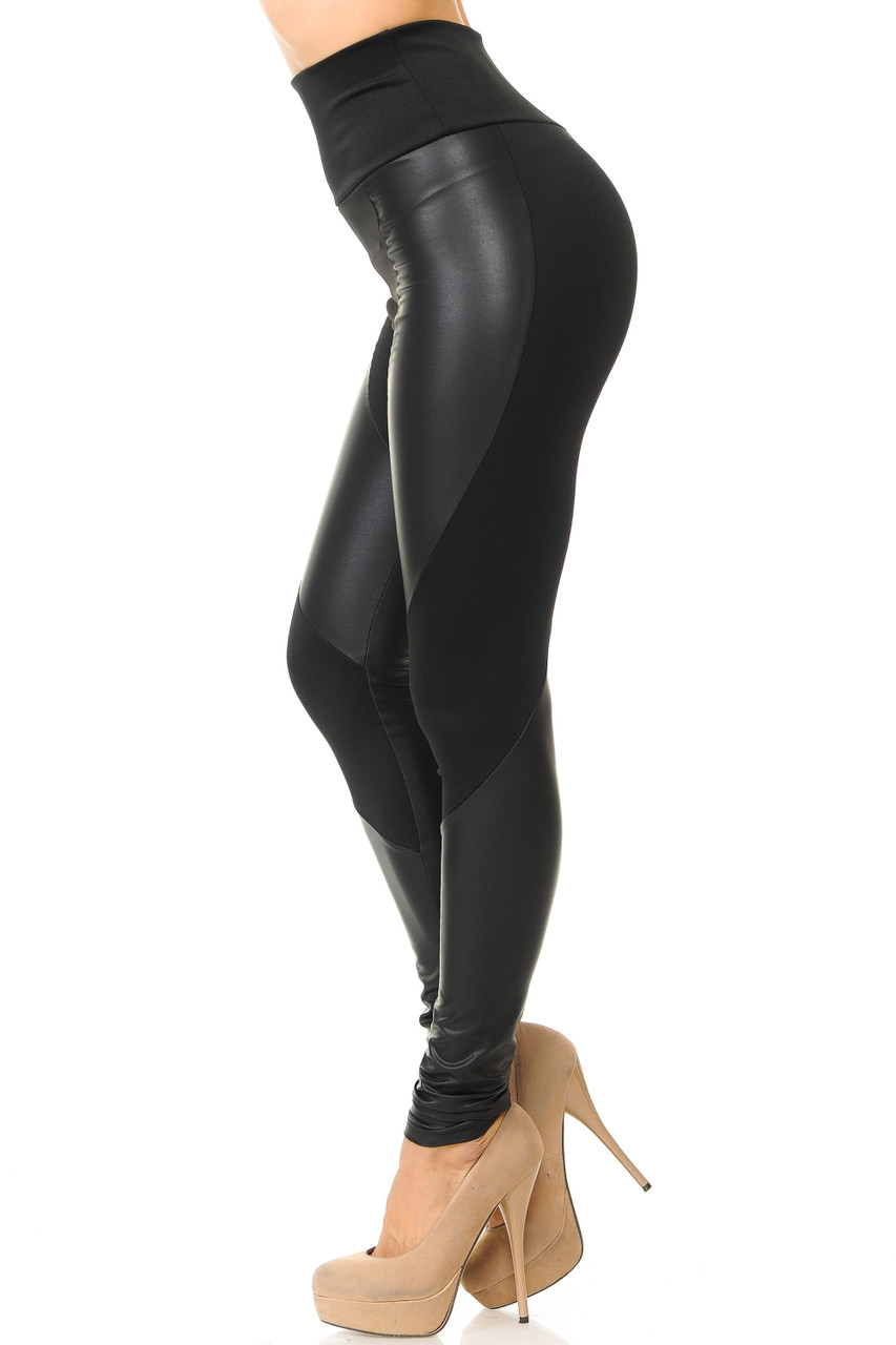 Left side view of Chatelaine Faux Leather High Waisted Leggings