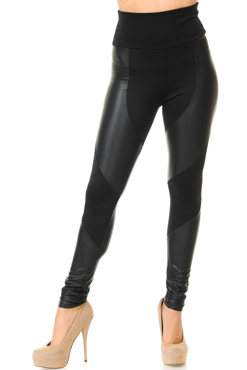 Front view of our American made sleek and fitted Chatelaine Faux Leather High Waisted Leggings