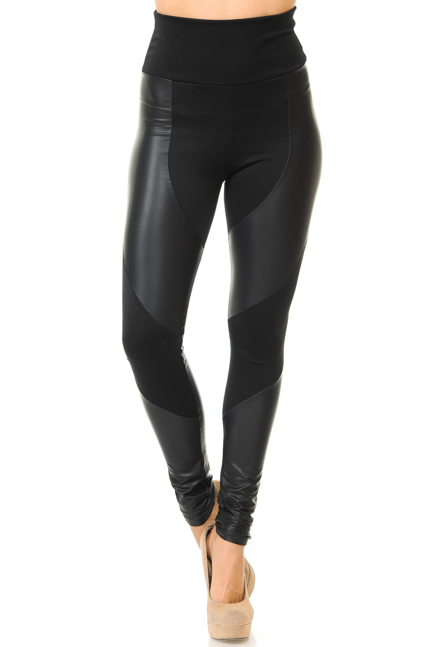 Front view of sexy Chatelaine Faux Leather High Waisted Leggings