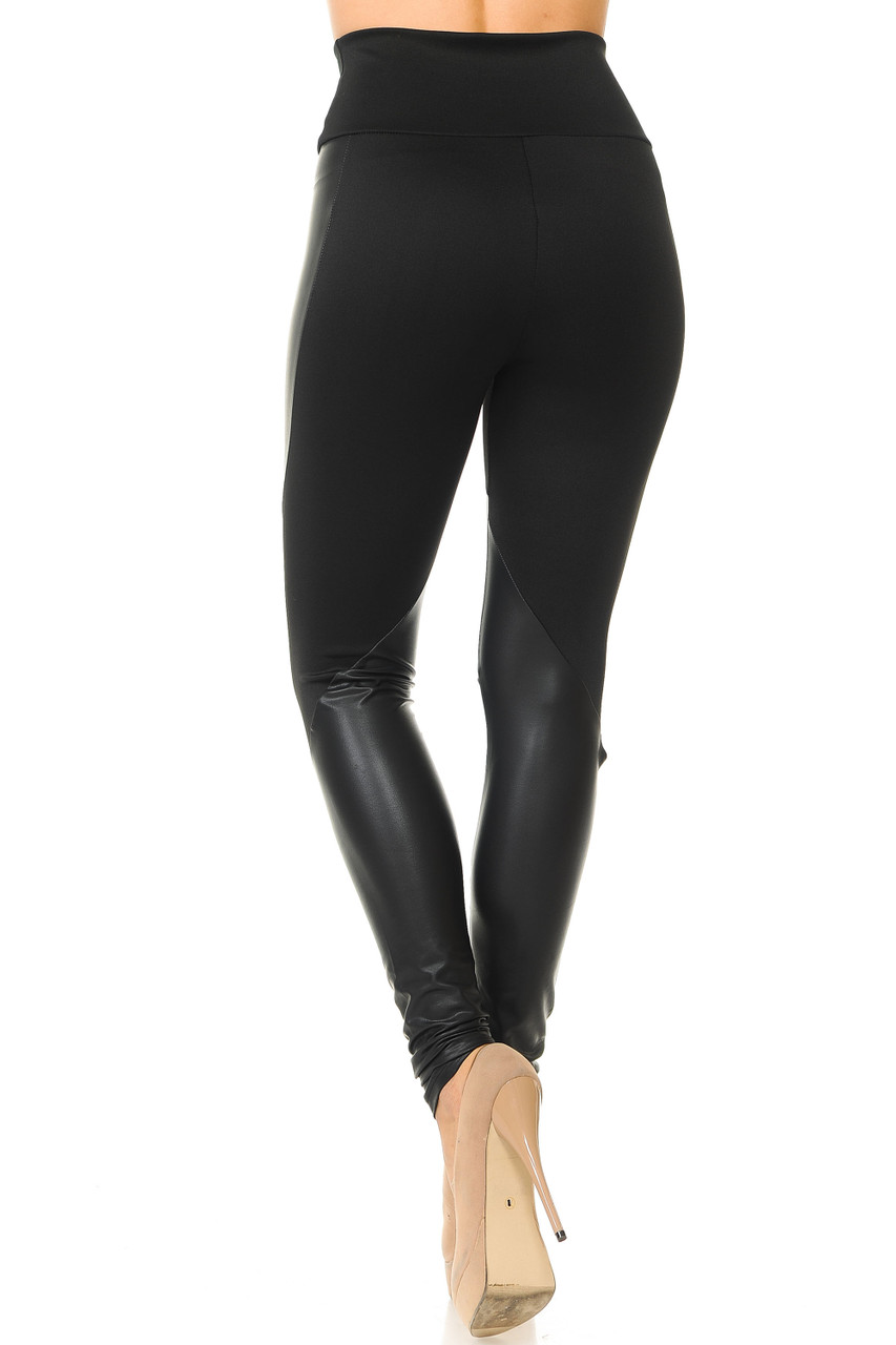 Back view of Chatelaine Faux Leather High Waisted Leggings featuring a full length skinny leg cut.