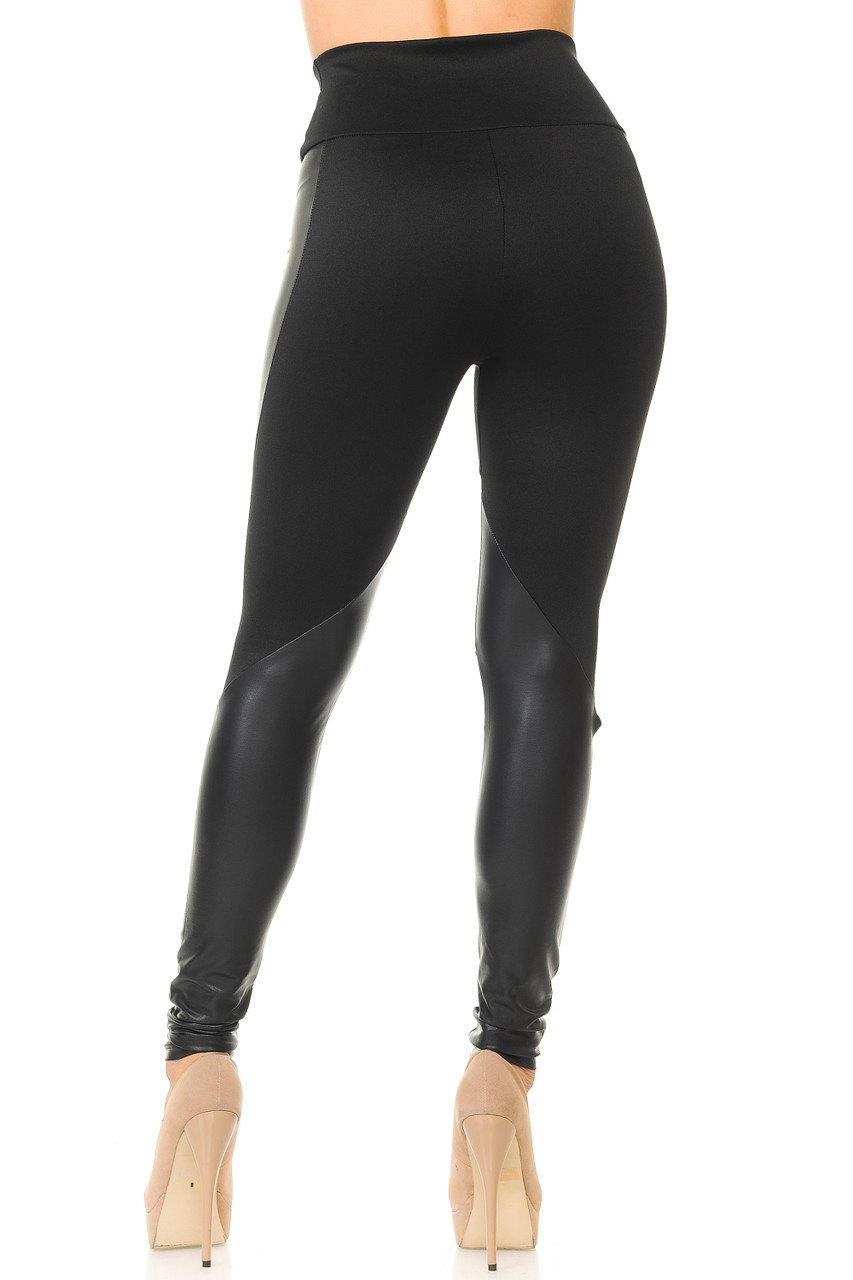 Rear view image of Chatelaine Faux Leather High Waisted Leggings with a sexy body flattering fitted look.