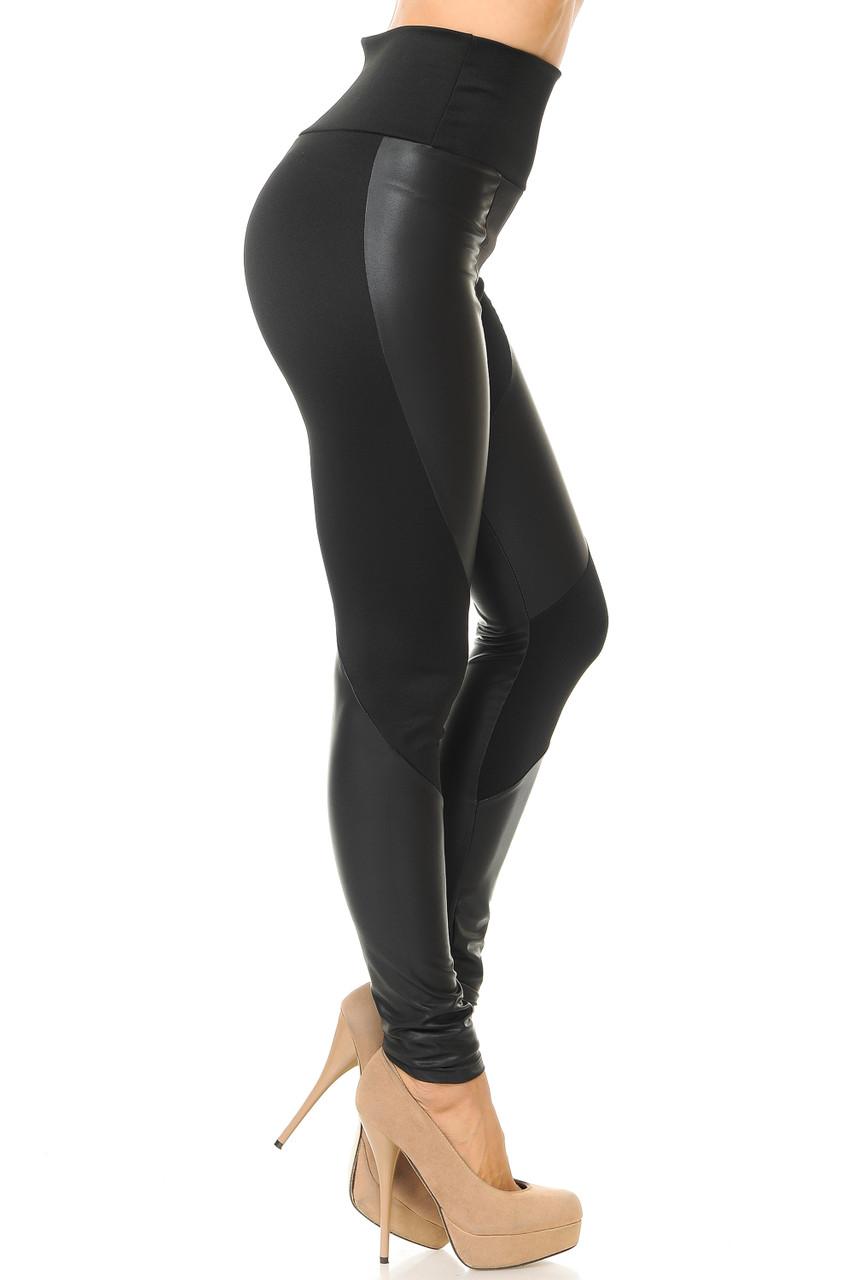 Right side view of Chatelaine Faux Leather High Waisted Leggings featuring a comfort fabric waist.