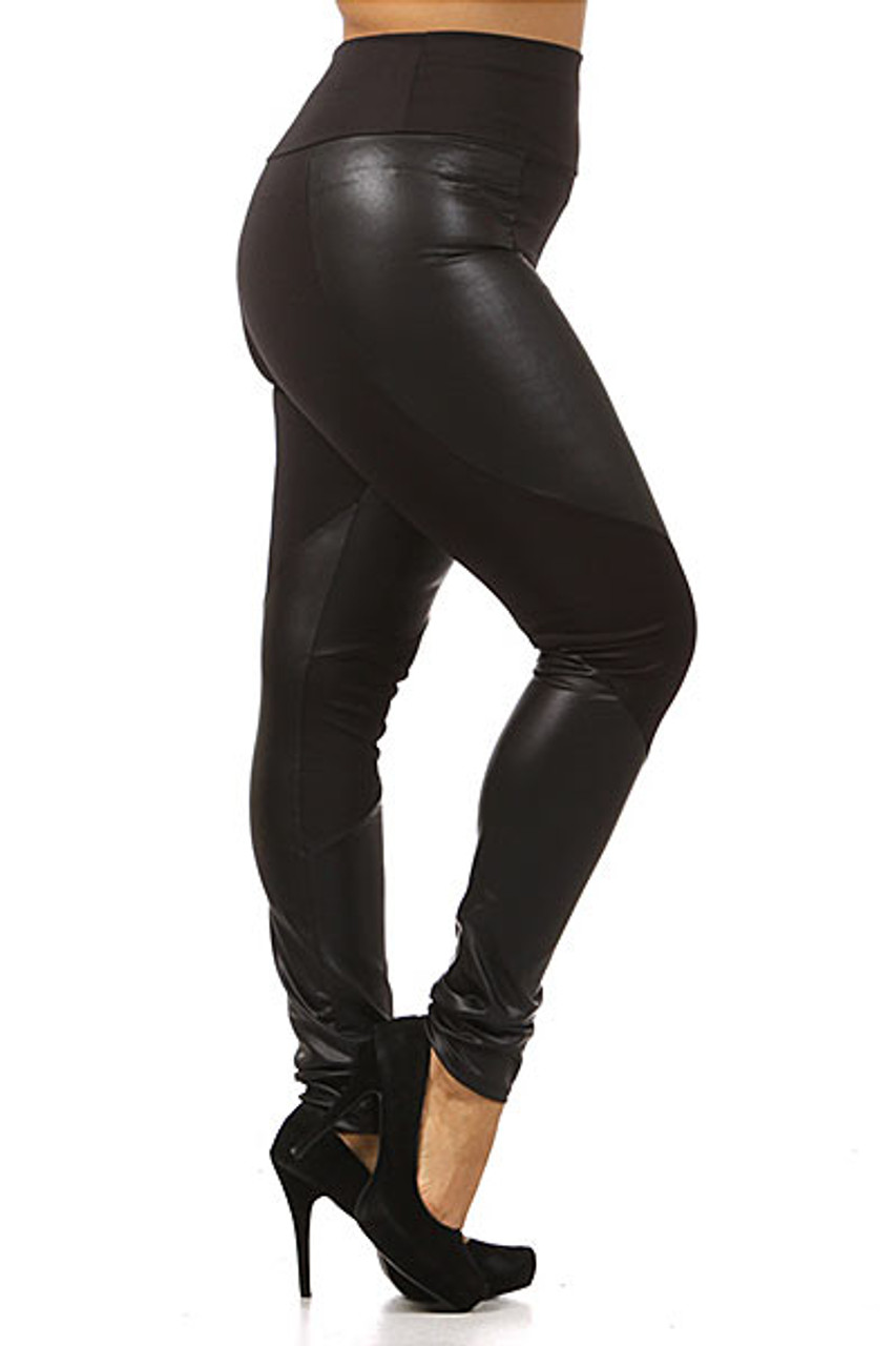 Right side view image of Chatelaine Faux Leather High Waisted Plus Size Leggings featuring a fabulously sassy look for casual and dressy outfits.