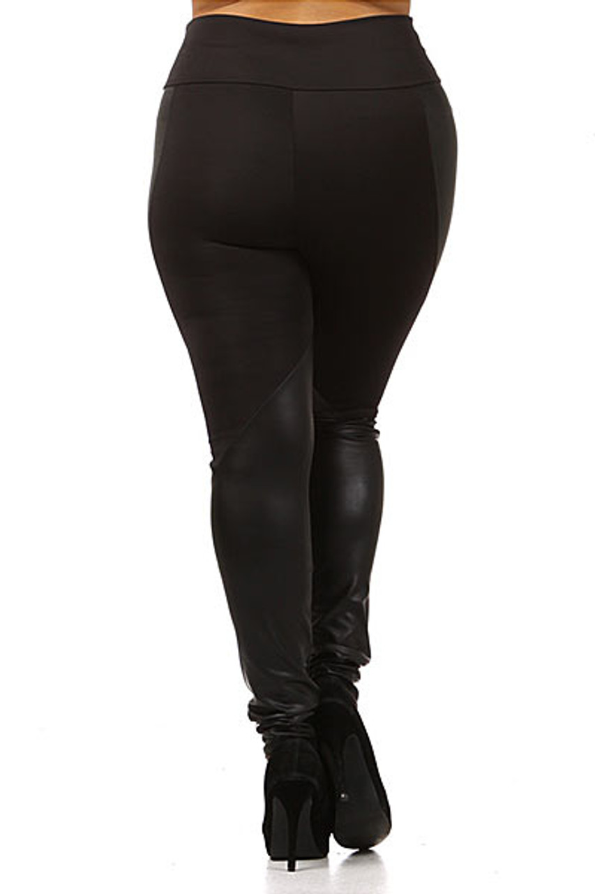Rear view image of Chatelaine Faux Leather High Waisted Plus Size Leggings with a sexy body flattering fitted look.