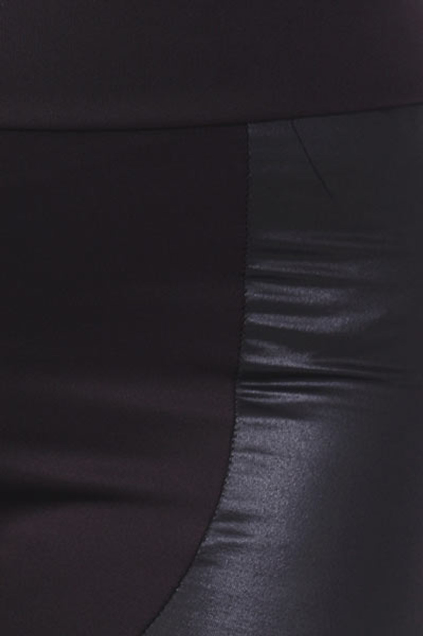 Close up swatch of Chatelaine Faux Leather High Waisted Plus Size Leggings