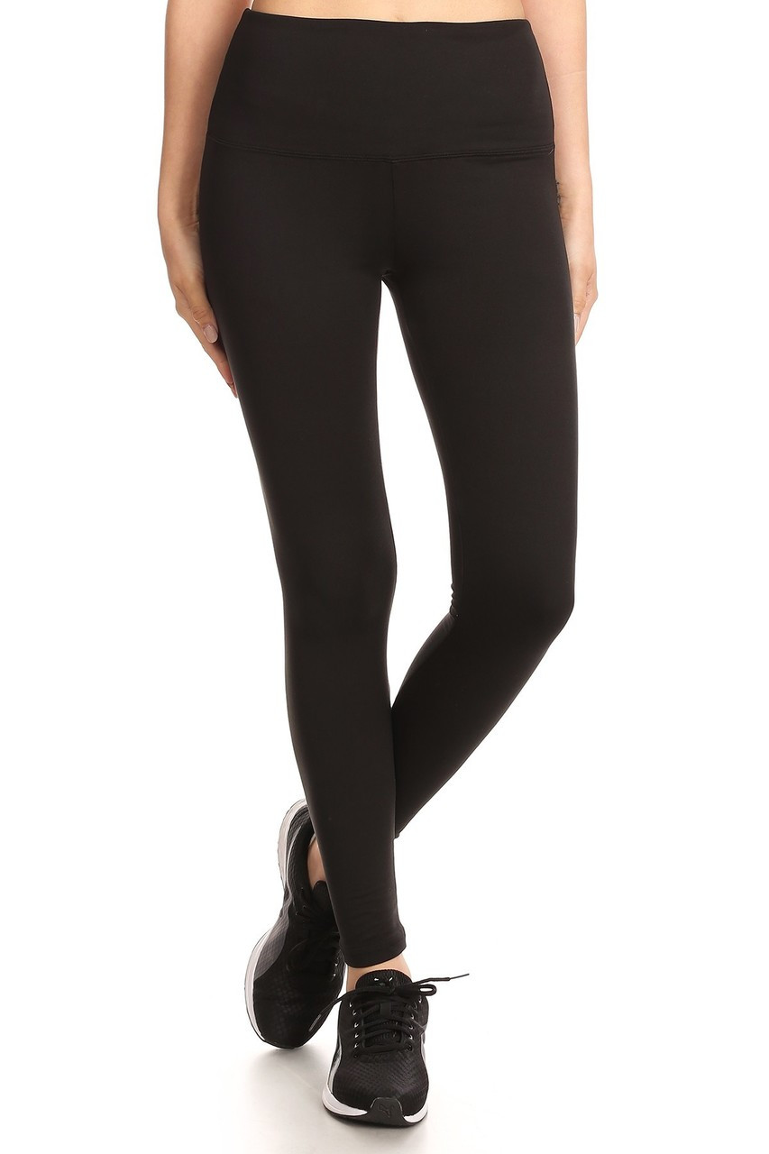 Front view image of Black Fleece Lined High Waisted Sport Leggings