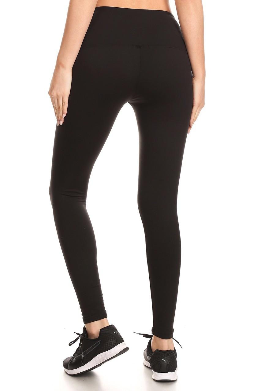 Back view of black Fleece Lined High Waisted Sport Leggings