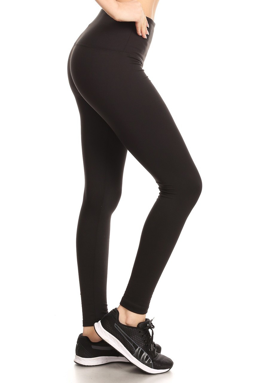 Right side view image of black Fleece Lined High Waisted Sport Leggings