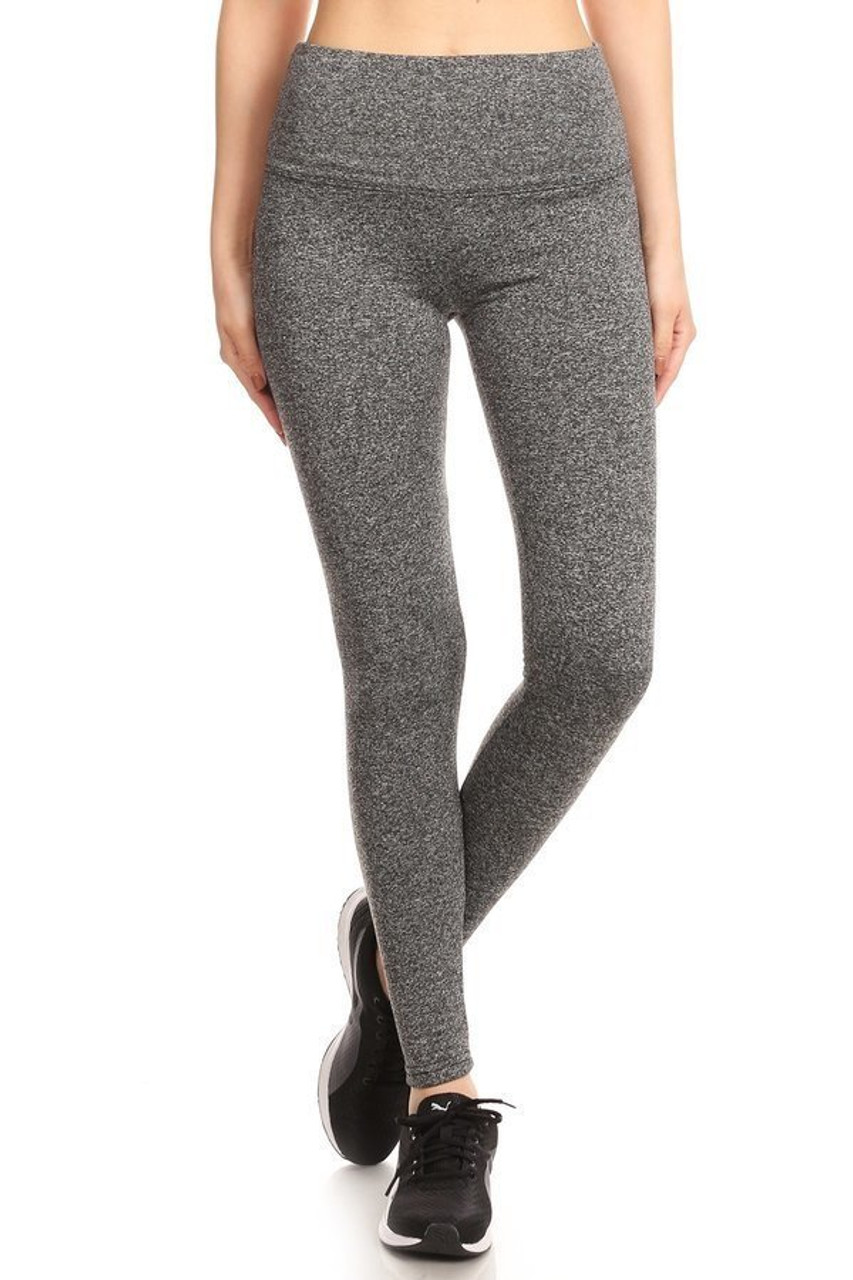 Front mage view of charcoal Fleece Lined High Waisted Sport Leggings
