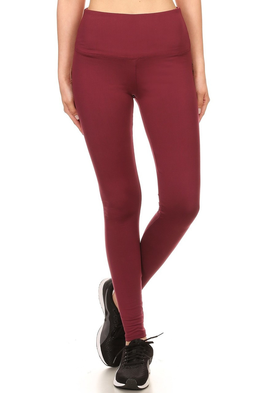 Close up of burgundy Fleece Lined High Waisted Sport Leggings