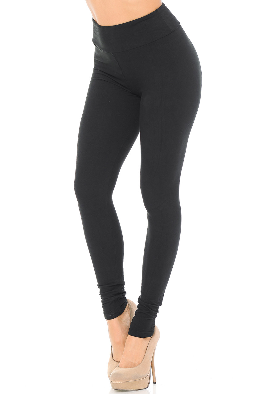 Angled left/partial front view image of black Buttery Soft Basic Solid High Waisted Leggings - EEVEE - 3 Inch
