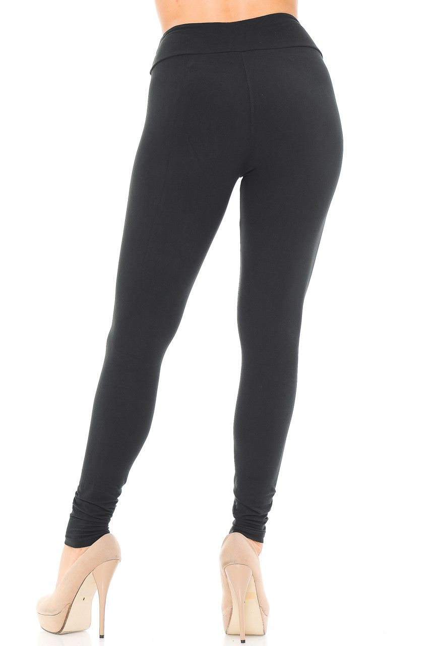 Back view image of black Buttery Soft Basic Solid High Waisted Leggings - EEVEE - 3 Inch